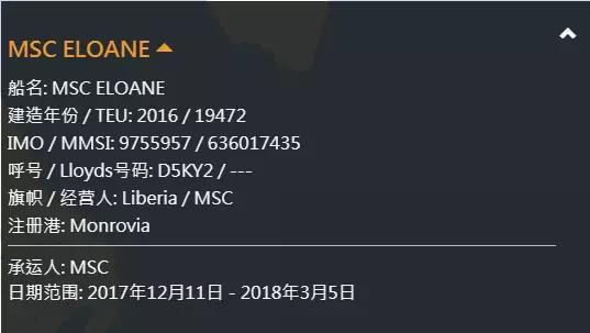 MSC ELOANE shipping info