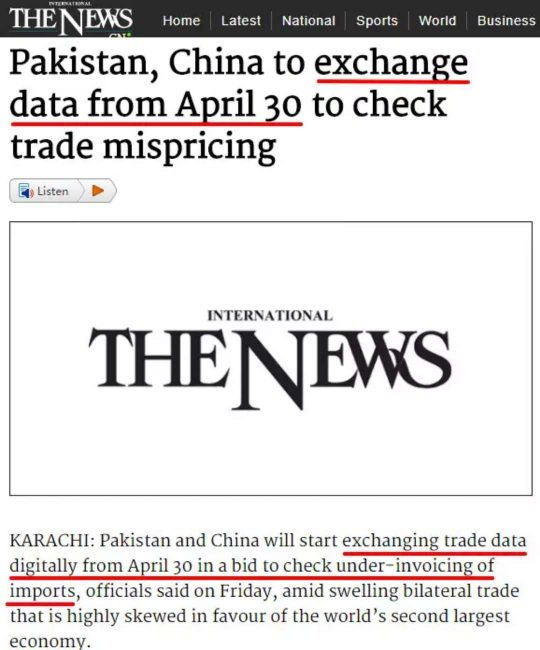 Pakistan-China,exchange data from April 30-1