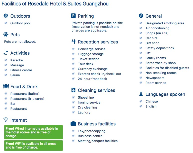 Facilities of Rosedale Hotel & Suites Guangzhou