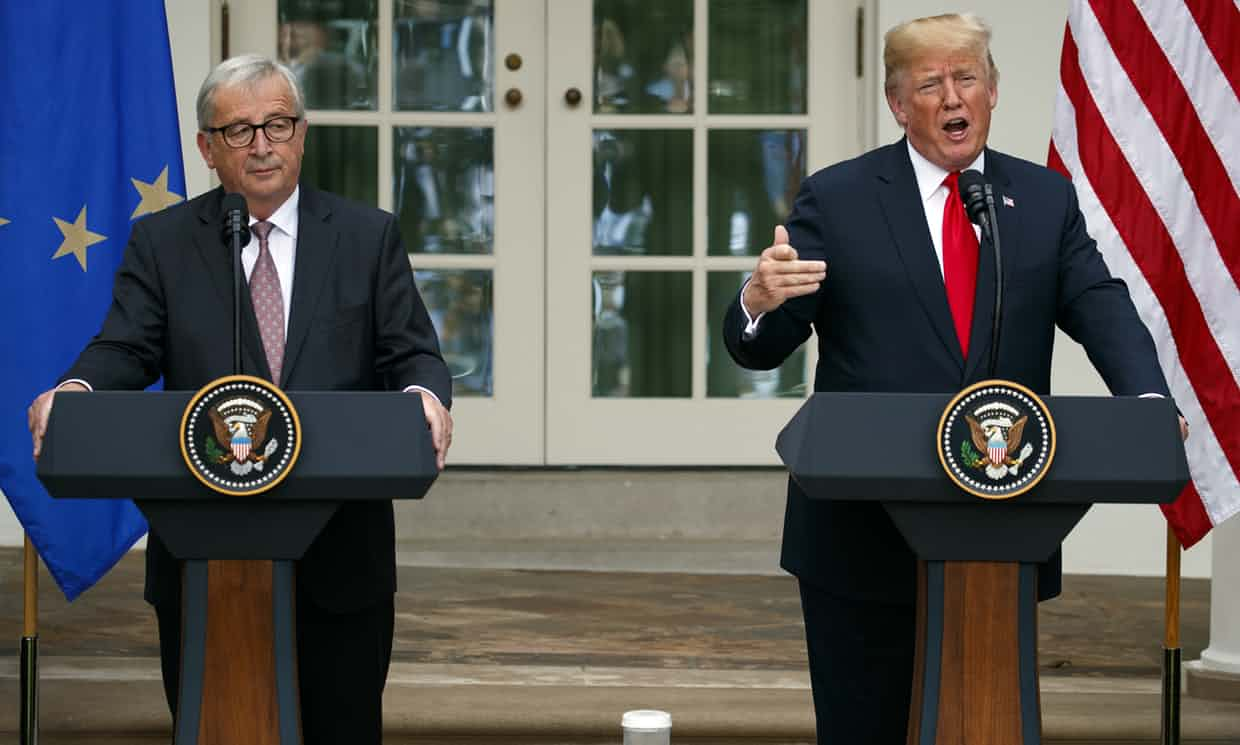 Donald Trump and Jean-Claude Juncker speak in the rose garden of the White House