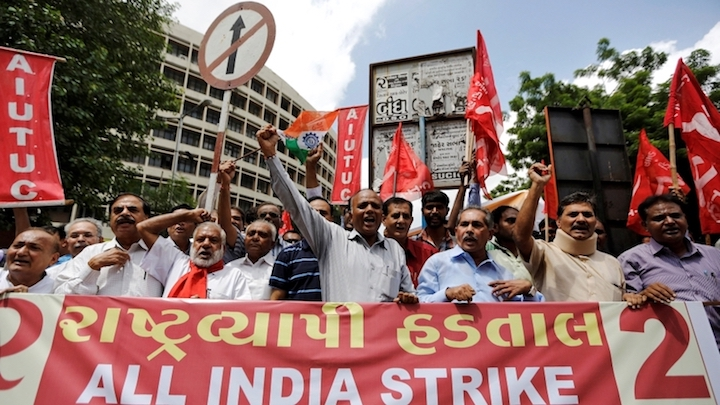 Millions of Indian workers strike