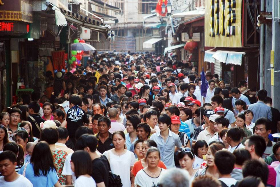 Crowded people during China National Day holiday