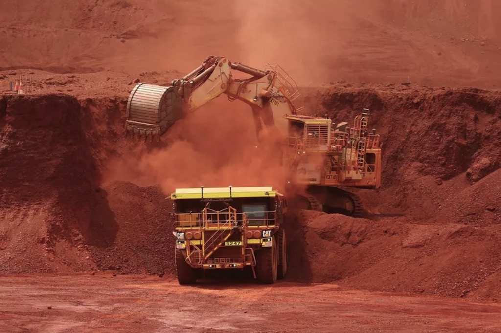 Iron ore mining operations in the Pilbara region of Australia