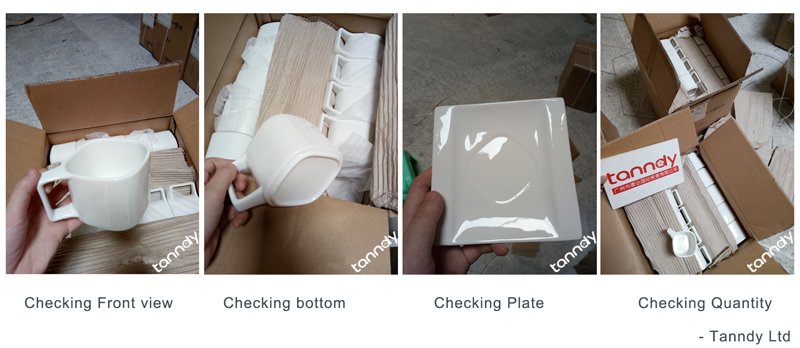 inspect ceramic coffee cup by checking appearance and sizes