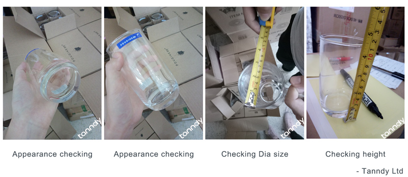 inspect glass cup by checking appearance and sizes