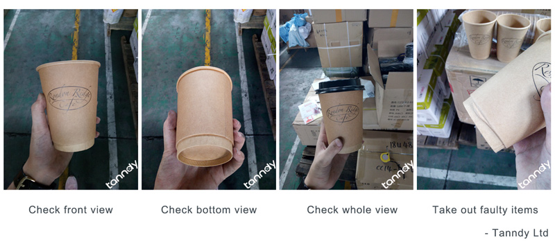 inspect paper cup by checking outside