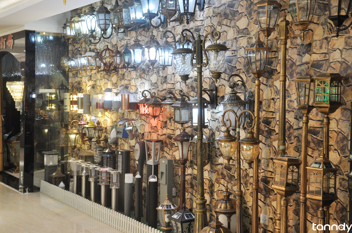 Lighting display wall in building material market