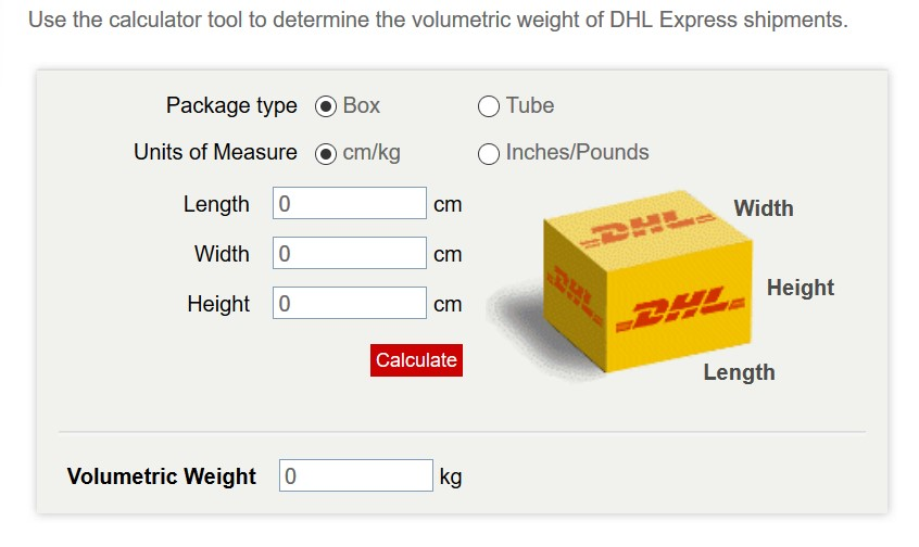 DHL Volumetric Weight calculation